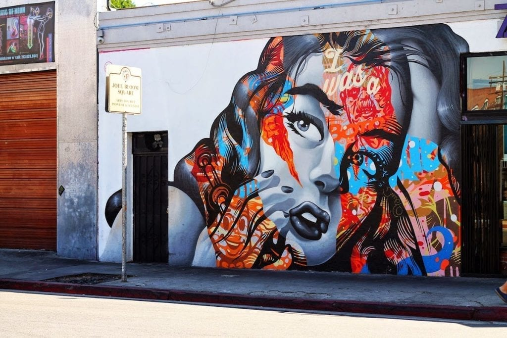 street mural of woman's face