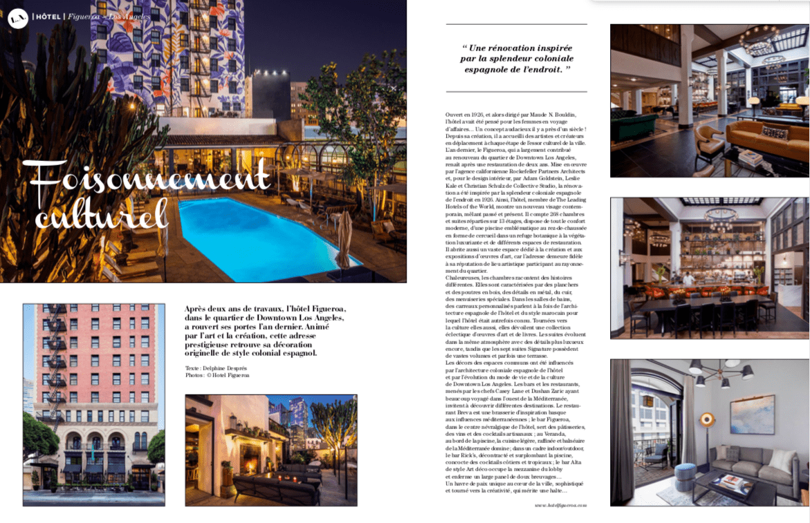 artravel magazine page featuring hotel figueroa