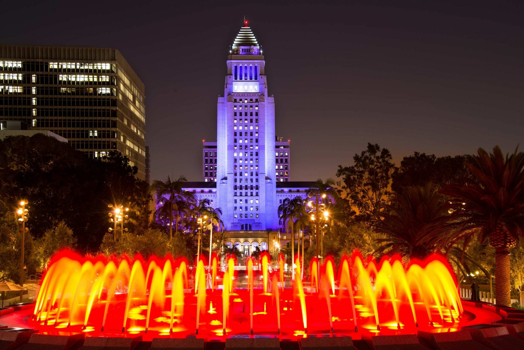 la city hall night lights